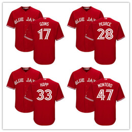 Toronto Blue Jays Jerseys Stitched Mens White Home Gray Road Red Blue #17 Ryan Goins 28 Steve Pearce 33 Happ 47 Miguel Montero