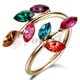 Yoursfs 18K Rose Gold Plated Unique Leaves Shaped Colorful Austrian Crystal Engagement Ring Adjustable
