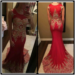 New Arrival Red Tulle Mermaid Prom Dresses 2020 Custom Made Gold Lace Appliqued Formal Long Summer Prom Gowns Vestidos De Baile