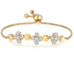 TENGZHEN Fashion 18k Gold Plated Flower Charms Cubic Zirconia Chain Bracelets for Women Girls Adjustable Size