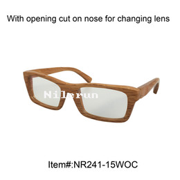 rectangle solid wood optical glasses with opening cut for changing lens