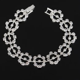 New Christmas gift sliver and gold color Female Wedding jewelry new hot sell Fashion round Crystal Bracelet for women