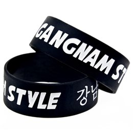 Wholesale 50PCS Lot 1 Inch Wide Band Gangnam Style Silicone Bracelet Psy Rap Song Bangle Music Gift Wristband