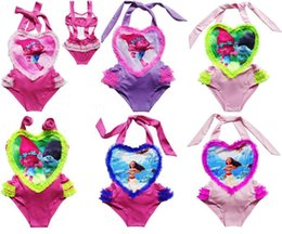 Trolls Maillots de bain pour filles One-Piece Movie Moana Maillots de bain de bande dessinée Lace Love Heart Triangle Beach Bikini Bébé Enfants Natation Vêtements Pool Bath Cloth à partir de bébé nager en tissu fournisseurs