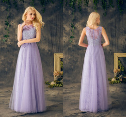 Vintage Lavender Prom Dresses Scoop Neck Sleeveless A Line Lace Long Formal Dresses Evening Wear Real