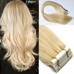 Best selling remy human hair extensions 20pcs PU skin weft tape in hair extensions Sliky Straight free shipping #613 Bleach Blonde