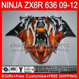 8Gifts 23Colors For KAWASAKI NINJA ZX636 ZX6R 09 10 11 12 600CC 25HM12 Orange black ZX 636 ZX 6R ZX-636 ZX-6R 2009 2010 2011 2012 Fairing