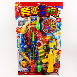 Wholesale Children s soft bullet gun toy gun Sucker bow and arrow toy suit with bowling model with target