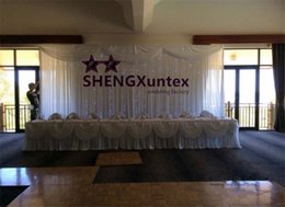 White Color Wedding Backdrop Curtain With String LED Lights Good Quality