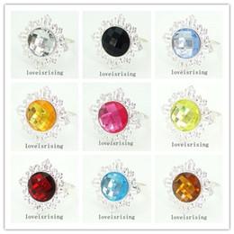 Wholesale 22 Colors Fashion Acrylic Gem Silver Plated Napkin Rings Wedding Bridal Shower Favor Napkin Holder