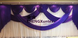 3M*6M Size White And Purple Color Wedding Backdrop Curtain \ Stage Background