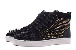 [Original Box] Red Bottom Men Shoes Designers Party Wedding Shoes Men, Genuine Leather Louisfalt Spikes Sneakers Lace-up Casual Shoes Black