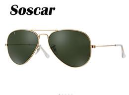 Wholesale Soscar auténtico marco de oro de Sunglass polarizado UV400 marca diseñador de Sunglass hombres SUN gafas de metal bisagra con caja original