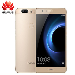 Compra Online Pantallas digitales-Original Huawei Honor V8 teléfono móvil 5,7 pulgadas 2560 * 1440PX 2K pantalla Android 6.0 Kirin 955 Octa Core 4 GB RAM 32 / 64GB ROM FingerPrint