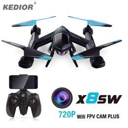 Promotion vidéo rc 720P FPV drone X8SW RC Quadcopter hélicoptère 2.4G 4CH 6-Axis RC drones hélicoptère peut ajouter en temps réel 1.0MP caméra HD