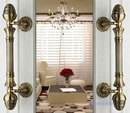 Wholesale 2pcs Classic European Zinc Alloy Bronze Villa Archaize Wooden Door Glass Door Handle Pull Door Knobs Decoration Hardware Accessories