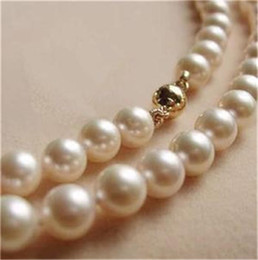 14K Solid Gold CL 8-9MM White Akoya Pearl Necklace 18""