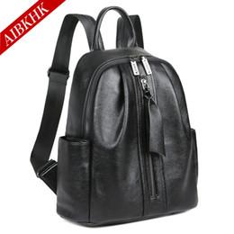 Mochila de cuero resistente al agua en venta-Mochila de cuero de alta calidad Mujer Zipper mujeres mochilas para viajar impermeable