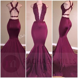 Real Image Burgundy Lace Mermaid Prom Dresses 2017 Deep V Neck Backless Cheap Party Evening Gowns Satin Formal Occasion Evening Party Wear