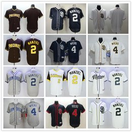 johnny manziel jerseys Promotion San Diego Padres 2 Johnny Manziel Maillots de Baseball Blue Brown Blanc Grey Broderie Logos 4 Wil Myers Blank Jersey Accepter Mix Commandes