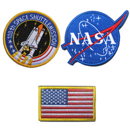 Wholesale NASA th Space ShuttleMission US Flag Tactical Patch Morale Patches Hook Loop D Embroidery Badge Military Army Badges free ship