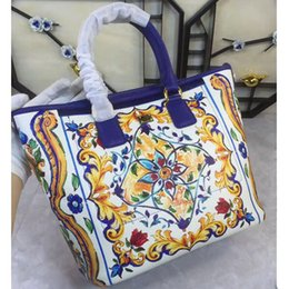 2017 spring and summer new blue blue and white porcelain, single shoulder portable bag, flower printing color printing shopping bag
