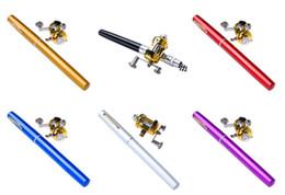 Wholesale Portable Travel Pocket Mini Aluminum Alloy Pen Shaped Pole Fishing Rod with Drum Wheel Reel Combo Foldable Fishing Set meter