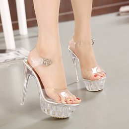 14 Cm Thin High Heels Thin Bottom Waterproof Women Crystal Shoes Coreano más tamaño Princesa Sandalias de la boda zapatos 35-43 sandal wedding high heel cm on sale desde boda de la sandalia del tacón alto cm proveedores