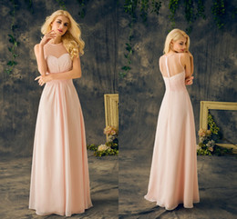 2019 Baby Pink Bridesmaids Dresses Real Sheer Round Neck Sleeveless A Line Long Chiffon Junior Cheap Maid Of Honor Dresses For Wedding