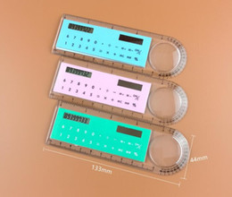 Wholesale 50pcs OEM digits Solar Ruler Calculator Students gift Calculator Magnifier Function Calculator small size calculators
