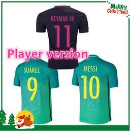 Wholesale Player version MESSI NEYMAR JR INIESTA PIQUE SUAREZ jersey Red Green Blue Purple futbol Sports shirts