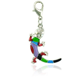 Fashion Animals Floating Charm With Lobster Clasp Dangle Color Enamel Gecko Pendants DIY Charms For Jewelry Making Accessories