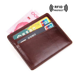 Acheter en ligne Les brunes-Rfid Blocage carte d'identité Slim Wallet pour les hommes Rouge Brown Crazy Horse Portefeuille de carte de crédit en cuir 2017 Vintage Case carte d'identité Designer