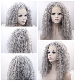 New Sexy Style Gray curly long wigs for black women heat resistant synthetic lace front wigs with baby hair fast shipping high quality