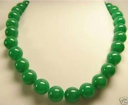 "Beautiful GREEN Jade 14mm Beads Necklace 18""AAAAR"