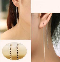 17cm Long Line Chain Drop Dangle Earrings 925 Sterling Silver Earrings Fashion Jewelry Ear Cuff For Women LT