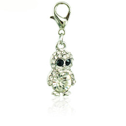 Fashion Floating Charms With Lobster Clasp White Rhinestone Crystal Penguin Animals DIY Charms For Jewelry Making Accessories
