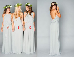 Wholesale 2017 Sage Cute and Affordable Mumu Boho Bridesmaid Dresses Elegant Two Pieces Cheap Long Split Wedding Party Guest Country Bridesmaid Gowns