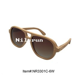 cool men's pilot style gradient brown lens large real natural wood frame sunglasses