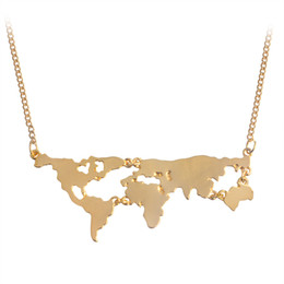 Wholesale Hot Sale New Fashion World Map Pendant Necklace Personality World Jewelry Lovers BFF Creative Gold Silver Black Special Gift