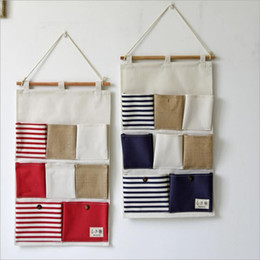 8 Pockets Portable Toy Stifching Storage Bag Cotton and Linen Office Bedroom Wall Pocket Eco-friendly Hanging Organizer