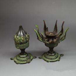 Antique bronze copper Candlestick ornaments antique Nepal longevity turtle lotus candle collection decorative base