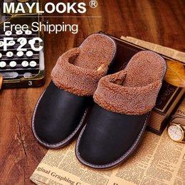 2017 New Fashion Waterproof Winter Warm Home Slippers Men Genuine Cow Leather Plush Man Floor Slipper Shoes