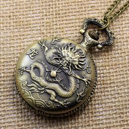 Montres de gros perle en Ligne-Grossiste-Vintage Bronze Rétro Nouvel An Chinois Zodique Dragon Perle Bronze Pendentif P405