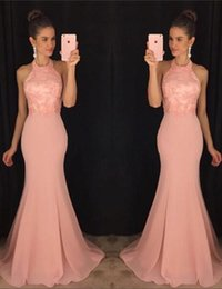Wholesale 2016 stylish and sexy back strap bag hip fishtail skirt drain back Jumpsuit neck meat pink chiffon Pageant Dresses a cheap postage