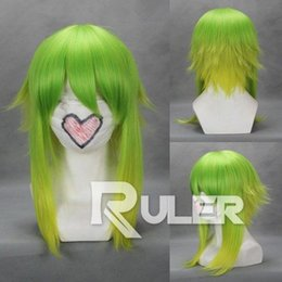 Free shipping Quality Fashion Picture full lace High wigs>>New Short Vocaloid-Gumi Color Mixed green yellow Anime Cosplay party Wig