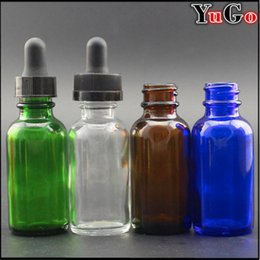 GR-1#-30ml 1oz Europe Round Glossy Clear, Blue, Amber, Green Glass E-Liquid Bottle; Child Proof Resistant Cap; Slender Dropper Pips Pipette