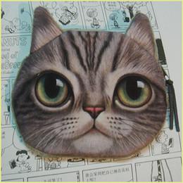 Compra Online Monederos de las señoras regalos-3D Animales Cabeza de gato Printng Carteras Niños Mujeres Monederos Monedero Bolsa Señoras Zipper Bolsa Key Card Maquillaje Titular Carteira Regalo ZA1523