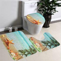 Wholesale Sea Blue Pedestal Rug Lid Toilet Cover Bath Mat Carpet Bathroom Set Sea Beach Design Carpet Home Bathroom Decor