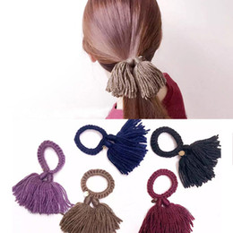 Small fresh wool wool tassels to color rubber band FS00119